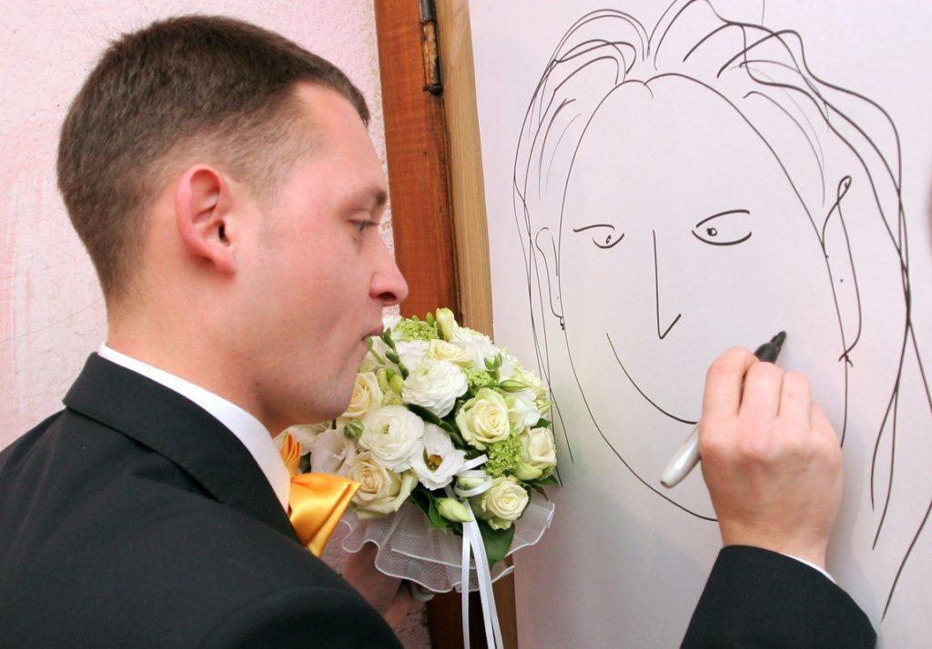 Конкурсы на свадьбе портрет жениха и невесты
