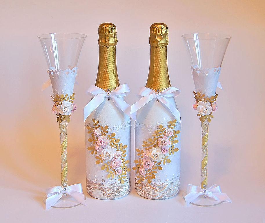 Украшения своими руками бутылок на свадьбу